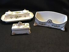 Vintage Bavaria Porcelain 3 Piece Inkwell Desk Set With Yellow Daisy's & Gold