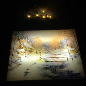 2 X Christmas Canvas Pictures Light Up From The Back Snowy Cottage Bridge