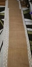 Hessian and lace table runners 155cm x 50cm