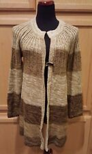 Kim Rogers Brown/Camel Colorblock Toggle Button Long Cardigan Sweater, M - $58