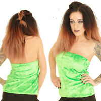 NEON GREEN BOOB TUBE 80'S FANCY DRESS TUTU BANDEAU RAVE CYBER HOLIDAY SIZE 10-12