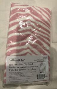 PAMPERED CHEF- PINK Zebra Microfiber Towel #2908-NIP-RARE