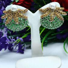 NATURAL GREEN TSAVORITE GARNET, YELLOW SAPPHIRE & WHITE PEARL EARRINGS 925SILVER