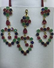 14k Solid Yellow Gold Set Earrings & Pendant With Natural Ruby Sapphire Emerald