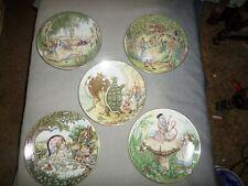 Lot of 5 1981 George Boyer Limoges Alice In Wonderland Plates, Sandy Nightingale