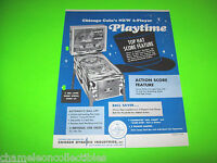 PLAYTIME By CHICAGO COIN 1968 ORIGINAL PINBALL MACHINE PROMO SALES FLYER