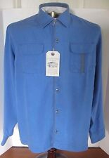 NWT Cooper Jones Supply Navy Blue Cotton Button-Up Camp Shirt, Size Medium