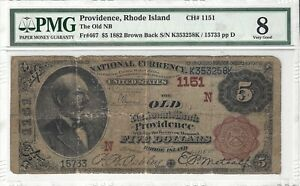 $5 1882 Brown Back The Old National Bank Providence, RI PMG VG8 Ch#1151 Fr#467