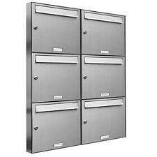 6er Premium Edelstahl Briefkasten Anlage für Außen Wand Design Postkasten 2x3 S