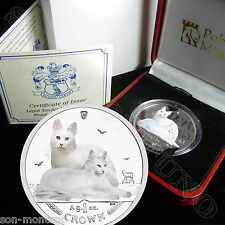 2011 Isle of Man Turkish Angora Cat Coin 1oz Silver Color Proof + Mint Box & Coa