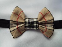 BEIGE TARTAN 3 INCH HAIR BOW ELASTIC HEADBAND BABY TODDLER GIRLS NEW