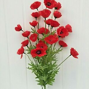 Bunch of Red Artificial Poppies,3 stems,27 Faux Silk Poppy Heads.