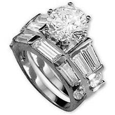 14k White Gold over 925 SS Diamond Alternatives Wedding Engagement Promise Ring