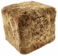 Eco Lambskin Stool Cube Stool Ottoman Foot Stool Gold Brown 42 x 42 X 42 CM