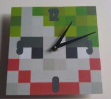 wooden Minecraft style Joker Handmade Wall Clock Gift Kids Bedroom