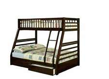 Wooden Wood Twin Kids Teens Bunk Bed Twin Over With Storage Ladder and Trundle