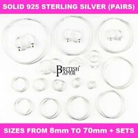 925 STERLING SILVER HOOP EARRINGS SMALL LARGE 8-70mm NOSE SET BALL RING CZ WOMEN