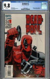 Deadpool #1 CGC 9.8 NM/MT Black Tom Cassidy & Juggernaut Appearance WHITE PAGES