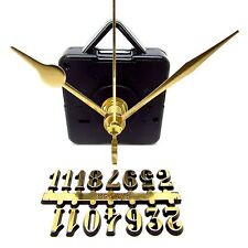 New Silent Quartz Clock Kit with Gold Numbers And Hands - Make Your Own Clock
