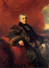 Oil painting beautiful old woman noblelady seated in landscape by Winterhalter