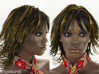 Wet Gelled Layered Shag Style Medium Len Skin Top Straight Wigs with Bangs