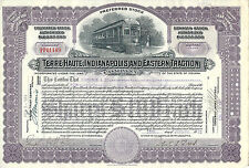 INDIANA 1923,Terre Haute Indianapolis & Eastern Traction Stock Certificate ABN