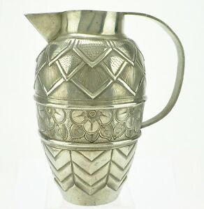 A French Art Deco Pewter Pitcher, Andre Villien, Hand Wrought, Signed