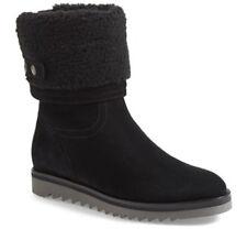 NEW Aquatalia Perdi Weatherproof Black Suede Faux-Fur Cuff Ankle Boot US 8 + Zip