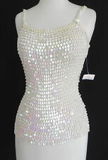 New Hand Made Sequined Top Spaghetti Strap Size S Ivory Tones Rayon Slim Cut