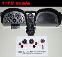1/12 1967 CORVETTE 427 COUPE GAUGE FACES for 1/12 scale MONOGRAM KITS