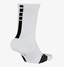 NIKE ELITE BASKETBALL CUSHIONED CREW DRI FIT SOCKS - WHITE SX7622-100 UK8-11-14