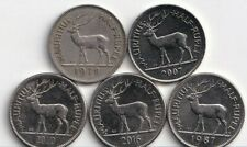 5 - 1/2 RUPEE COINS w/ DEER from MAURITIUS (1978, 1987, 2007, 2010 & 2016)