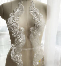 Off White Lace Trim Bridal Embroidery Motif Phoenix Wedding Lace Applique 1 Pair
