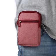 Plain Men Women Universal Denim Zipper Belt Waist Bag Phone Case Pouch Wallet