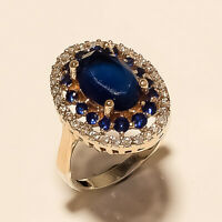 Natural Ceylon Sapphire Ring 925 Sterling Silver Turkish Two Tone Fine Jewelry A