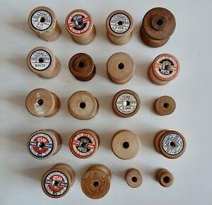 Vintage wooden cotton reels various sizes - 20 reels - no thread