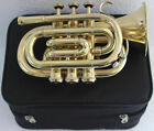 """Pocket Trumpet 3V Pro Shinning Brass with Mouth Piece And Case """"Chopra Brand"""""""
