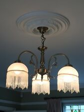 Art Nouveau Style 3 arm ceiling light with beaded tassels