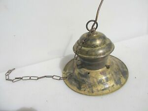 """Late Vintage Brass Ceiling Light Shade Lamp Old Retro 11""""W"""