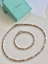 "65fe68018 Tiffany & Co Sterling Set Cable Etched Zigzag Necklace 16"" & Bracelet ..."