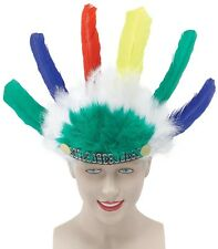 Kids Native Red Indian Feather Headdress Fancy Dress Costume Outfit Hat