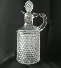 EAPG Pointed Hobnail Decanter Cruet with Stopper Antique Clear Glass