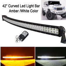 "42"" Led Curved Light Bar Amber White Strobeflash Work Offroad Truck Remote 240W"