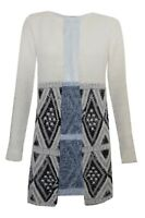 New Mim XS - XL Fluffy White Black Grey Print Open Cardigan Knitted Coat Jumper