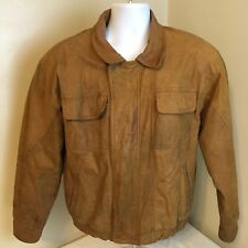 New Zealand Outback Mens Leather Jacket Size Brown Bomber Style Measures Large
