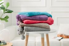 Pom Pom Throw 100% Polyester Throw Fleece Blanket Velvet Touch Sofa/Bed Throw