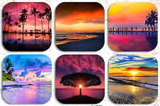 Beach Sunsets Drink Coasters x 6 Non fading