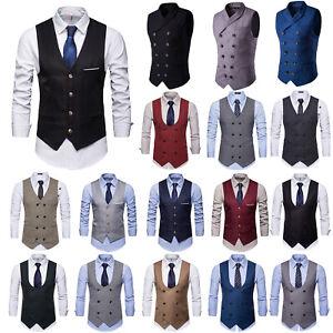 Herren Weste Business Hochzeit Westen Vintage Gentleman Slim Fit Anzug Gilet Top