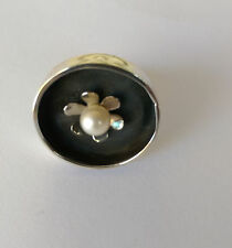 Sterling Silver Round Oxidised Ring With White Freshwater Pearl, Size 8.