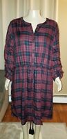 Lane Bryant V-Neck Long Sleeve Burgundy Checkered Dress 28 NWT